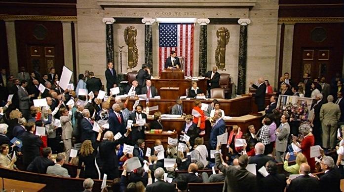 Speaker Paul D. Ryan tries to restore order on the floor late Wednesday evening. (CQ Floor Video Screen Grab)